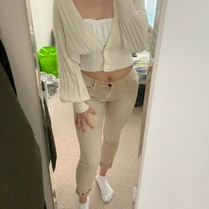URBAN OUTFITTERS Tan Cigarette Mid Rise Jeans